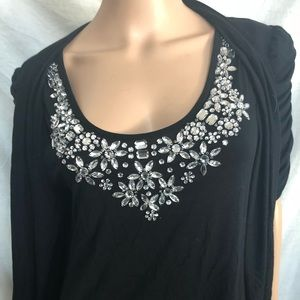 INC large black top rhinestone embellished front